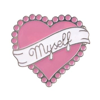 Heart Myself Jumbo Enamel Pin in Sweetheart Pink
