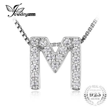 """JewelryPalace Letter """"M"""" Initial 0.49ct Cubic Zirconia Pendant 925 Sterling Silver Gift For The Mother's day Not Include A Chain"""