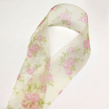 Rose Ribbon Floral Fabric Ribbon Transparent Fiber RibbonTape Vintage Style Wrapping Decoration