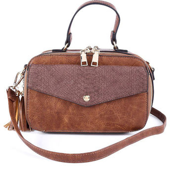 Tan Faux Leather CrossBody Purse