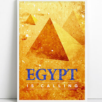 Egypt is calling Egypt Travel Poster Geometric Mountain Pyramid Gold Egypt City Travel Art Giza Cairo Egyptian Art Ancient Gold Egypt decor