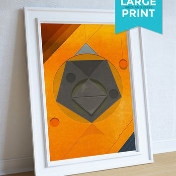 Mid Century Modern Print Geometric Vintage Retro Abstract Art Print Large Poster Giclee on Satin or Cotton Canvas Wall Decor