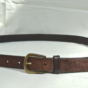 Brown Leather Belt, Brown Belt, Men's Belt,Unisex Belt,Leather Belt, Women's Belt,Belt, Belts, Western Style Belt, Western Belt, 1970s Belt