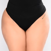 High Waist Shapewear Thong - Black
