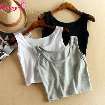 Women Short Crop Top,7 Colors Summer Style Sleeveless U Vintage Croptops Sportwears Tank Tops,Femme Vest Tube Top