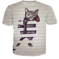Lined cat shirt