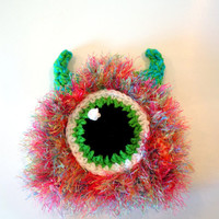 Christmasinjuly Monster hat - baby monster hat - photo prop for newborn - ready to ship - crochet baby hat