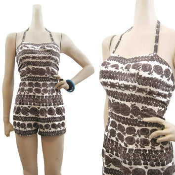 Vintage 50s Swimsuit Playsuit Rose Marie Reid Pin-up Romper Cotton Floral S