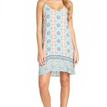 Junior Women's Paper Crane Border Print Shift Dress,