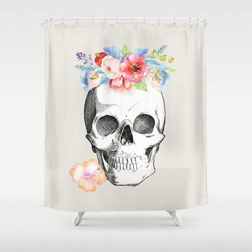 Skull Shower Curtain - Floral Skull - beautiful skull - watercolor flowers,  rebirth, unique, modern skull, bathroom decor