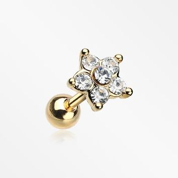 Golden Starburst Sparkle Flower Cartilage Tragus Earring