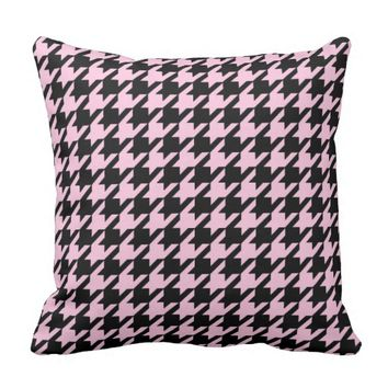 HOUNDSTOOTH PATTERN PILLOW, Pink & Black Throw Pillow