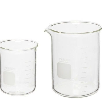 Corning Pyrex 5 Piece Glass Graduated Low Form Griffin Beaker Assortment Pack...