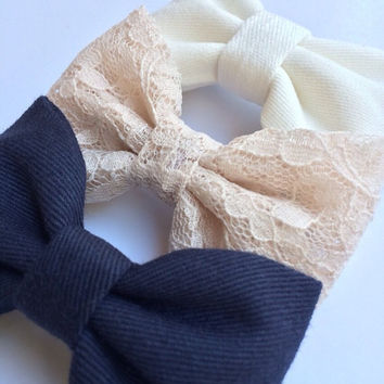 Beautiful lace, navy, and off white Seaside Sparrow hair bow set.  Brandy Melville and Urban Outfitters inspired.  Hair bows for teens bows