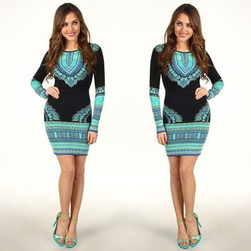 Long Sleeve Fashion Totem Printing Dress