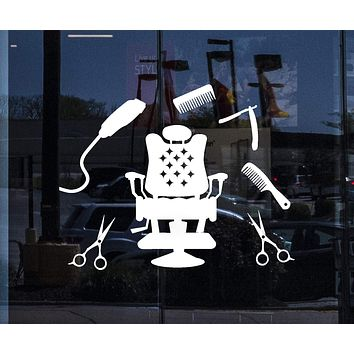 Window Vinyl Wall Decal Hairdressing Hair Salon Tools Barbershop Stylist Stickers Mural Unique Gift (ig5198w)