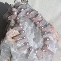 "Rose Quartz & Lilac Freashwater Pearl Crystal Gemstone Statement Necklace - ""Venus"""