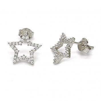 Sterling Silver 02.290.0020 Stud Earring, Star Design, with White Cubic Zirconia, Polished Finish, Rhodium Tone