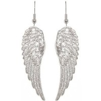 "Nickel Free 1 7/8"" Angel Wings Earrings In Silver Tone: Jewelry: Amazon.com"