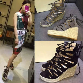 Design Summer Leather Roman Stylish Strong Character Hollow Out Wedge Zippers Sandals [4920430340]
