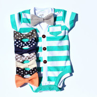Baby Cardigan and Bow Tie Set - Trendy Baby Boy - Aqua Stripes - Cardigan Onesuit