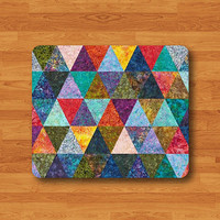 Triangle BATTLE BATIK Indo ART Mouse Pad Sarong Fabric Geometric MousePad Desk Deco Work Pad Rectangle Personal Ecofriendly Sustainable Desk