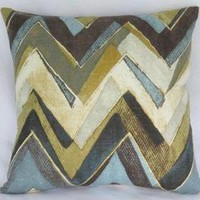 Teal Brown Gold Chevron Pillow Cover