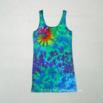 Medium Women's Tie-Dye Tunic Tank Top- Galaxy Spiral