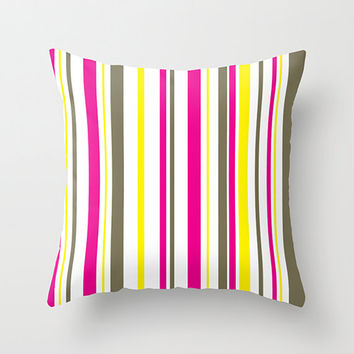 Pink, Yellow and Brown Throw Cover, Indoor or Outdoor Pillow Cover, Pink, Yellow, Brown, White, Striped Pillow Cover