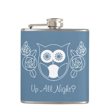 Up All Night? Cute Retro Owl and Roses Custom Hip Flask