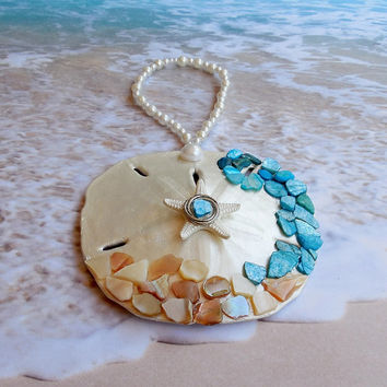 Beach Wedding Favor - Sand Dollar Ornament - Seashell Decor - Starfish Favor Coastal Home Decor