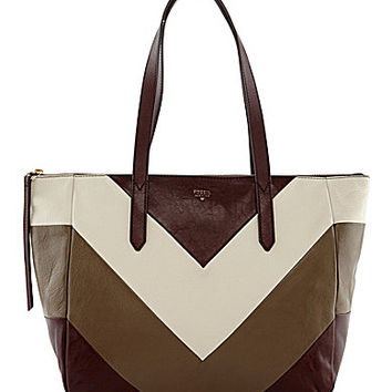 Fossil Sydney Chevron Colorblocked Shopper Tote - Raisin