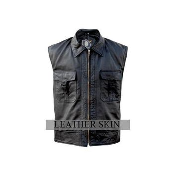 Leather Skin Men Black Genuine Leather Vest with Front Strap Closure Pockets - 100% Genuine Leather