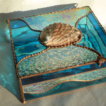 Large Abalone Box -Hand Made, Stained Glass Jewelry Box with Dolphin Handle for Storage and Organization