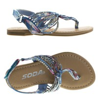 SonjaIIs Blue Denim Children Girls Thong Flat Sandal w Tribal Print & Metal Bead. Kid Shoe