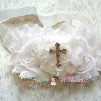 Trio White Cross Headband