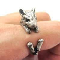 Realistic Hamster Gerbil Guinea Pig Shaped Animal Wrap Around Ring in Silver | US Sizes 4 to 8.5