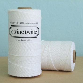 Bright White Divine Twine, Bakers Twine, 240 yards / 219 m. For Crafting, Gift Wrapping, Wedding DIY