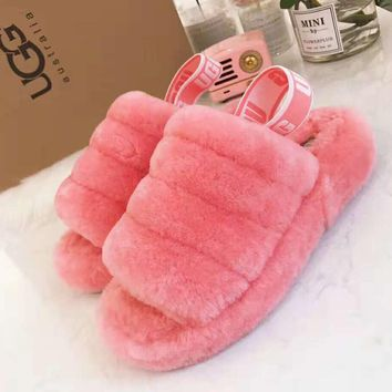 Hight Quality UGG Fluff Yeah Winter Fashion Women Slippers Sandals Shoes Pink