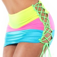 Bodyzone Neon Rainbow Tie Skirt : UV Reactive Girls Rave Clothing and Outfits