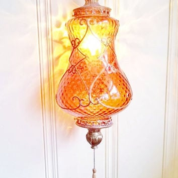 Vintage Swag amber glass and brass  chandelier