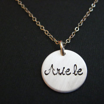Sterling Silver Disc Necklace, Silver Name Necklace, Girl's Name Necklace, Personalized Jewelry, Personalized Necklace