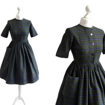 1950's Vintage Dress - Jafa Label - Green Stripe Dress - Short Sleeve Day Dress - XS - 50s 60s