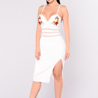 Officially Missing You Mesh Dress - Ivory