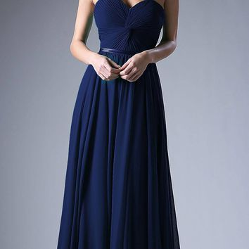 Twisted Bodice Chiffon Navy Blue Bridesmaid Dress Long Strapless