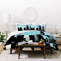 Amy Smith LA skyline blue Duvet Cover