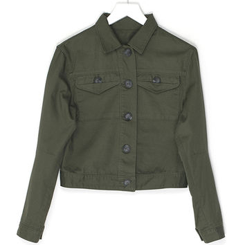 Short Army Green Jacket