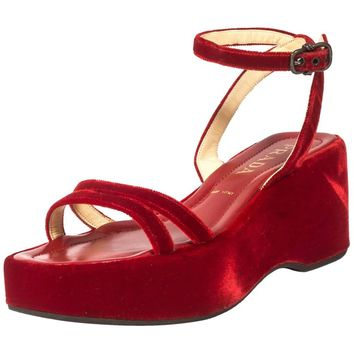 Prada red velvet platform sandals Spring-Summer 1997