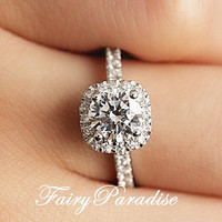 1 Ct Round Cut mab made diamond in cushion shaped halo engagement / promise rings in half pave band - made to order ( FairyParadise ) R306