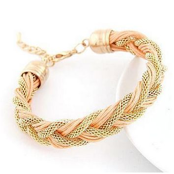Fashion Woven Hollow Charm Bracelet Women Handmade Bracelets Metal Leather